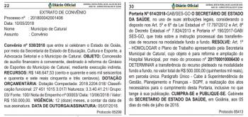 Diário Oficial do Estado publica convênios do Governo Estadual com a Prefeitura