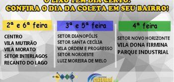 Secretaria Municipal de Transportes e Serviços Públicos divulga os dias da coleta de lixo em Caturaí