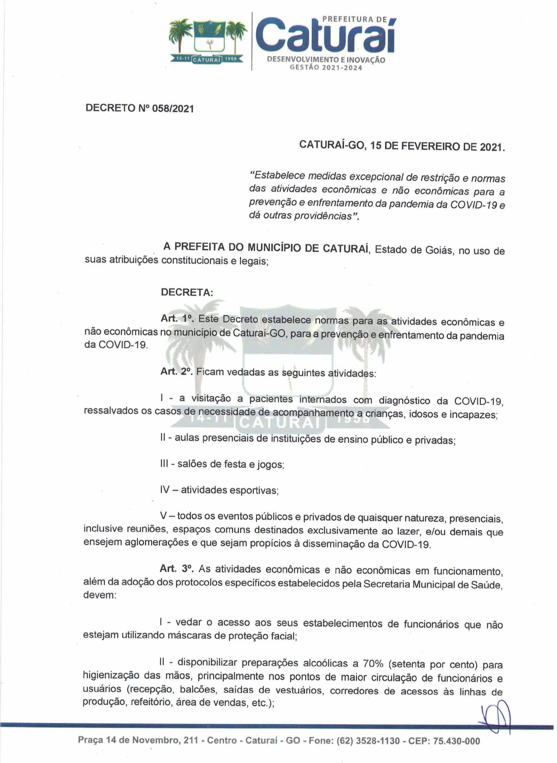 Decreto n. 058-2021